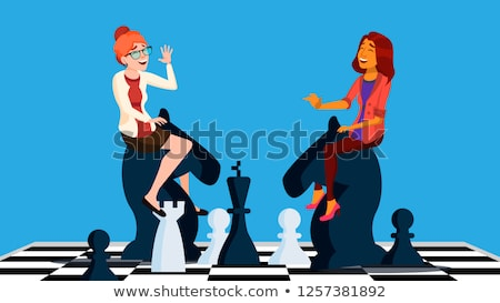 Business Competition Vector. Two Business Woman Riding Chess Horses Black And White To Meet Each Oth Stock photo © pikepicture