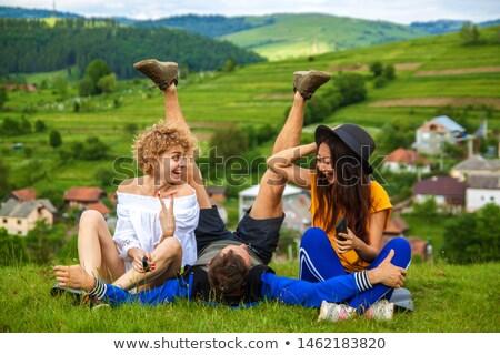 笑みを浮かべて 男 リュックサック グランドキャニオン 丘 冒険 ストックフォト © dolgachov