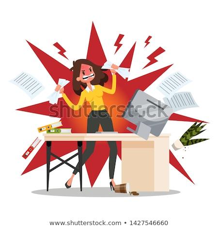 Сток-фото: сердиться · работник · месте · Cartoon · человека · работу
