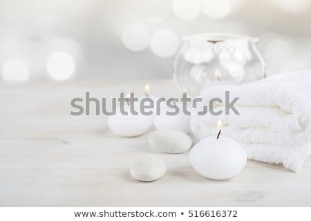 kaarsen · bloemen · handdoek · spa · voorjaar · ontspannen - stockfoto © neirfy