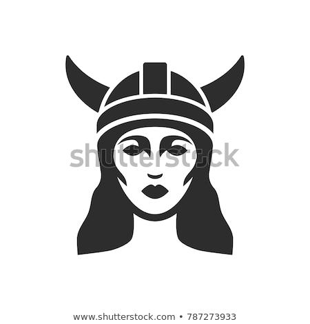красивой воин женщину изображение викинг шлема Сток-фото © Stasia04