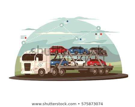 Car with Trailer Transporting Vector Illustration Stock photo © robuart