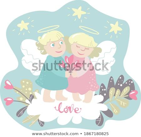 Chłopca dziewczyna bukiet para skrzydełka wektora Zdjęcia stock © robuart