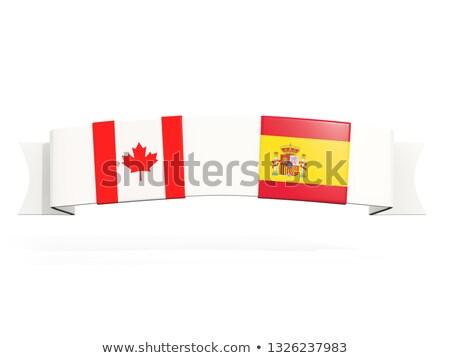 Afiş iki kare bayraklar Kanada İspanya Stok fotoğraf © MikhailMishchenko