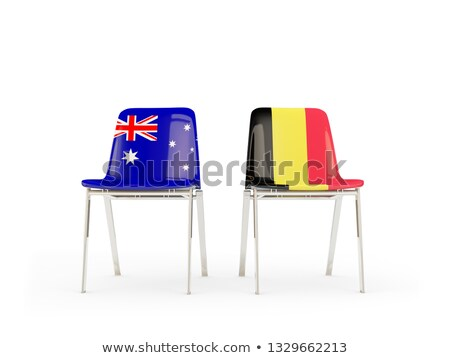 Two chairs with flags of Australia and belgium Stock photo © MikhailMishchenko