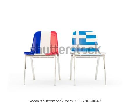 Kettő székek zászlók Franciaország Görögország izolált Stock fotó © MikhailMishchenko