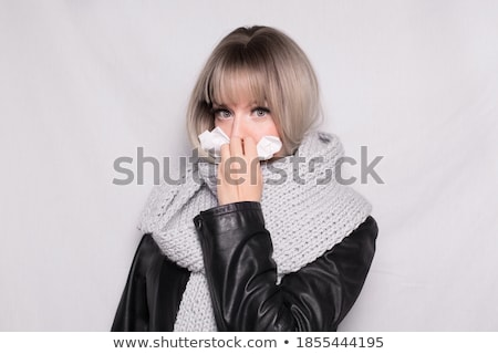 beautiful woman covering her face with a white handkerchief Stock photo © alexandrenunes