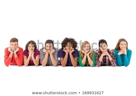 Grupy wesoły nastolatków odizolowany biały Zdjęcia stock © deandrobot