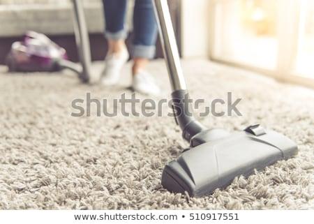 Menina piso aspirador de pó ilustração criança estudante Foto stock © colematt