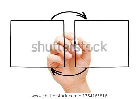 Stockfoto: Hand · tekening · twee · pijlen · diagram · exemplaar · ruimte