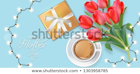 Foto d'archivio: Happy Mother Day Card With Lights Garland And Gift Box Coffee And Tulip Flowers Bouquet Vector Real