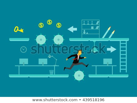 Man Business Overcome Obstacle Illustration Stock photo © lenm