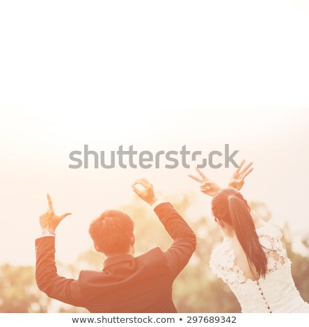 Foto stock: Young Couple In Love Bride And Groom Wedding Day In Summer Enjoy A Moment Of Happiness And Love In