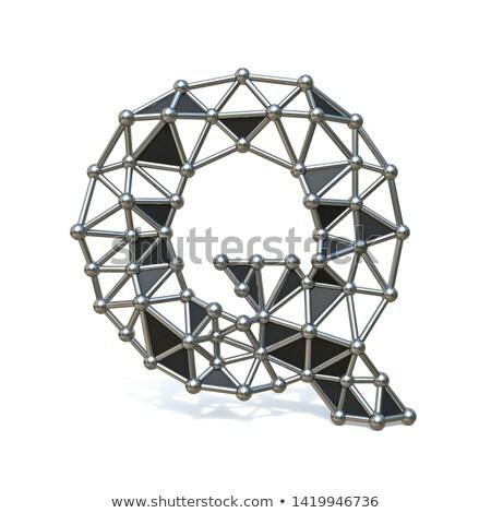 Wire low poly black metal Font Letter Q 3D Stock photo © djmilic
