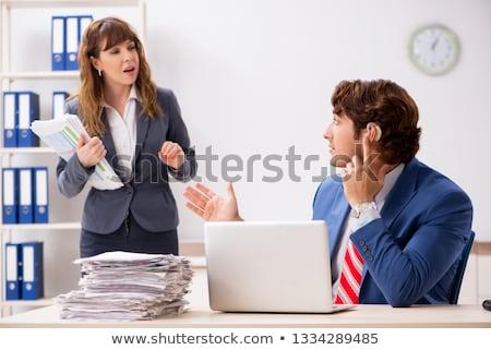 Stock fotó: Süket · alkalmazott · hallókészülék · beszél · főnök · nő
