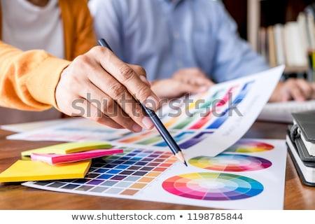 ahşap · renk · kalem · sanatçı · çalışmak · tablo - stok fotoğraf © freedomz