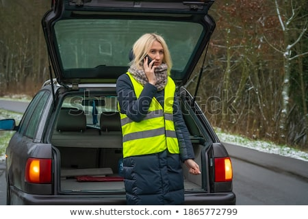 girl on the winter road is calling the phone near the car stock photo © lopolo