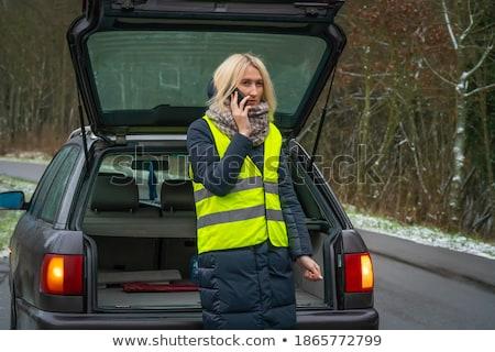 Stok fotoğraf: Kız · kış · yol · çağrı · telefon · araba