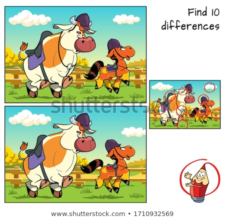 differences game with horses animal characters stock photo © izakowski