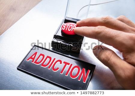 popychanie · panika · przycisk · osoby · naciśnij · duży - zdjęcia stock © andreypopov