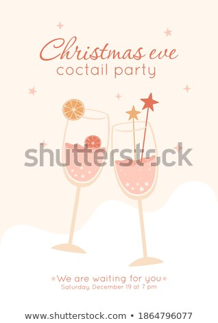 Two Elegant Champagne Glasses Color Vector Stock photo © pikepicture