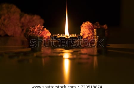 beautiful happy dhanteras flower decorative card design Stock photo © SArts