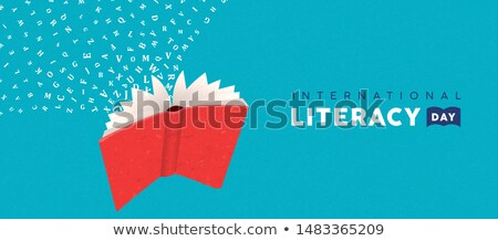 Literacy Day card concept of flying book alphabet Stock photo © cienpies