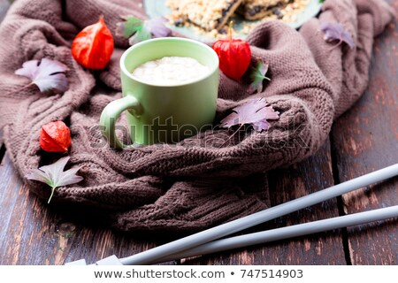 Two cup of coffee or hot chocolate with marshmallow near knitted blanket. Autumn concept. Christmas. Stock photo © Illia