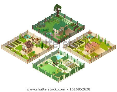 Country house and large garden. Set of 3d cottage isometric illustration Stock photo © orensila