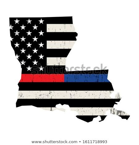 Louisiana policji strażak wsparcia banderą amerykańską flagę Zdjęcia stock © enterlinedesign