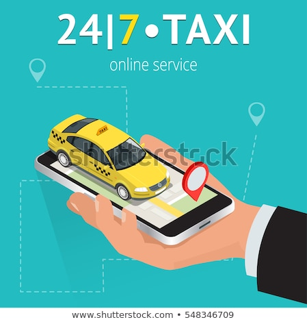 On-line táxi isométrica mão telefone carro Foto stock © -TAlex-
