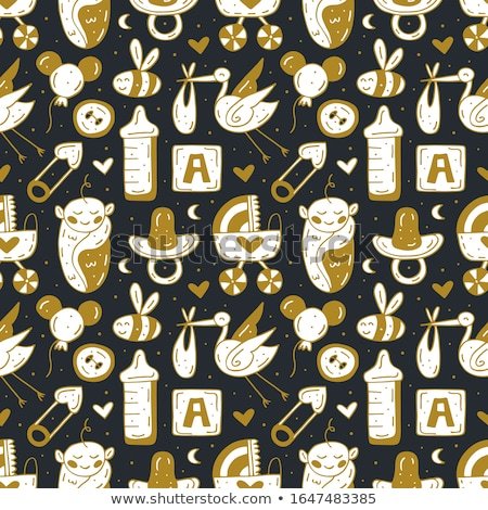 baby care stuff clothes toys cartoon cute hand drawn doodle vector seamless pattern stock photo © foxbiz
