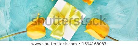Bandeira caixa de presente amarelo fita tulipa branco Foto stock © Illia