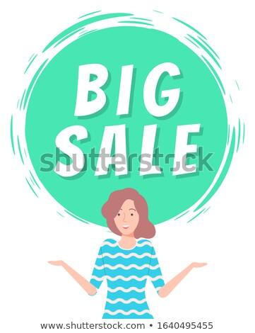 Nagy vásár legjobb ár zsákmányolás boldog lány ajánlat Stock fotó © robuart