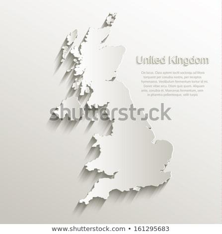 Plakat Karte Länder Vereinigtes Königreich schwarz weiß drucken Stock foto © FoxysGraphic