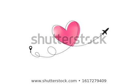 авиакомпания маршрут розовый формы сердца плоскости икона Сток-фото © evgeny89