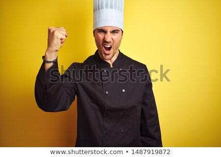 mad · kucharz · nóż · temperówka · człowiek · kuchnia - zdjęcia stock © vladacanon