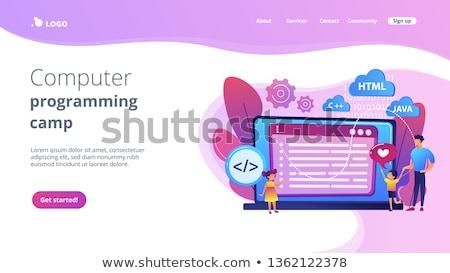 Számítógép programozás tábor leszállás oldal pici Stock fotó © RAStudio