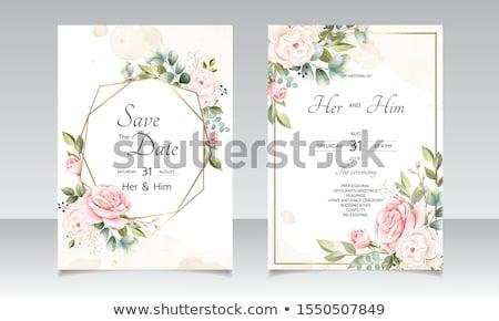 Dekoratif çiçek düğün davetiyesi şablon zarif dizayn Stok fotoğraf © SArts