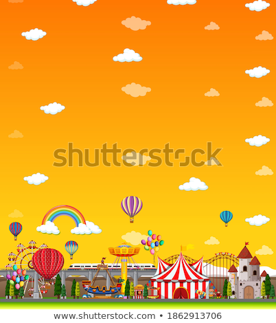 Amusement park scene at daytime with blank yellow sky Stock photo © bluering