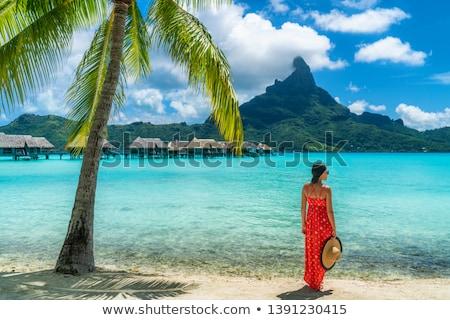 Seyahat cennet plaj kadın yürüyüş su Stok fotoğraf © Maridav