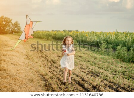 若い女の子 · ビーチ · カイト · 笑みを浮かべて · 子 · 冬 - ストックフォト © paha_l