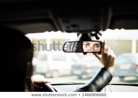 jonge · vrouw · glimlachend · naar · Maakt · een · reservekopie · mooie · aantrekkelijk - stockfoto © ilolab