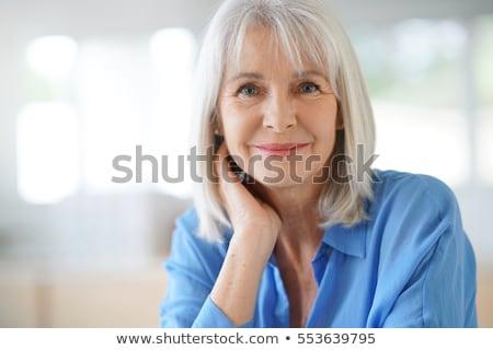 Stock fotó: Portré · idős · nő · portré · vonzó · nő · áll