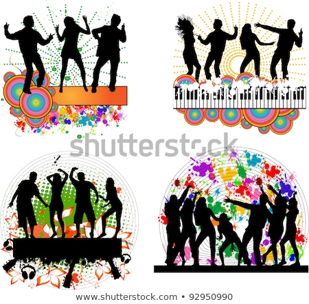 Sziluettek tánc bakelit narancs fehér boldog Stock fotó © mayboro