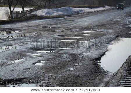 mal · asfalto · carretera · verde · campo · cielo · azul - foto stock © 5xinc