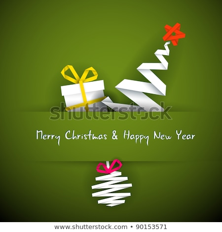 Simple vector christmas card with gift, tree and bauble Stock photo © orson