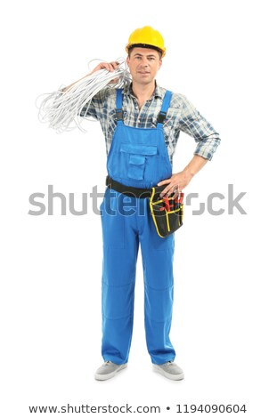 Stok fotoğraf: Electrician On White Background
