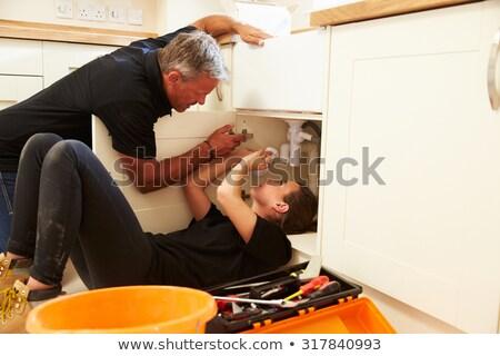 Jeunes Homme apprenti plombier affaires femme Photo stock © photography33