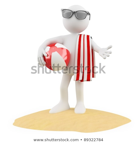 Seasons Summer Man On The Beach With A Ball A Red And White Towel And Black Sunglasses Stockfoto © Texelart